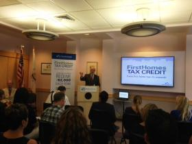 Rhode Island Housing Director Richard Godfreys at the event launching the program offering tax credits to first time home buyers.