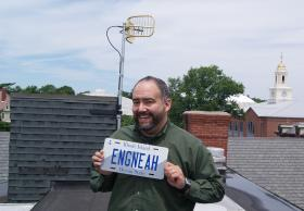 "RIPR Chief ""Engneah"" poses with the STL antenna"