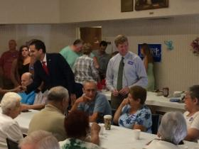Kennedy stumping for Taveras at a senior center in East Providence.