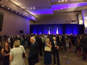 The scene before Clinton took the stage.