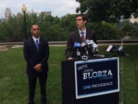 Elorza (left) and Smiley at last week's news conference.
