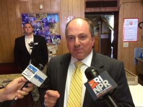 GOP gubernatorial candidate Ken Block held a press conference at a Cranston diner.