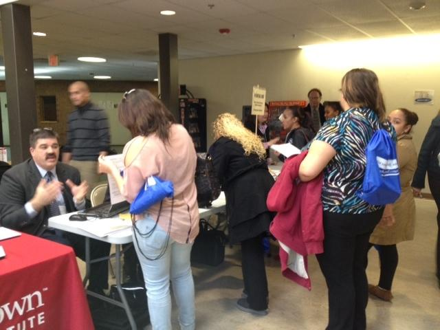 students signing into fair to get their records
