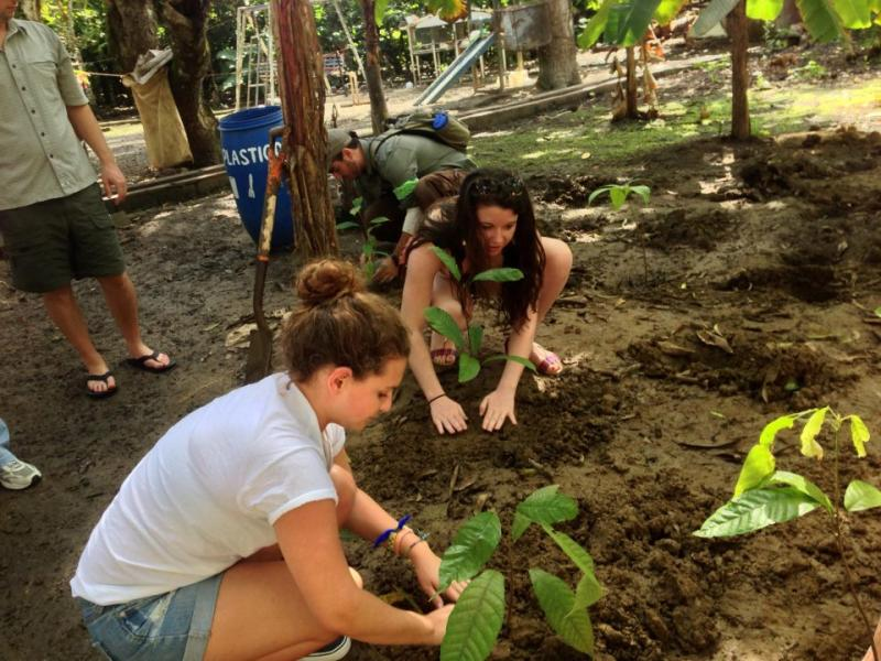 URI political science student Hannah Tickle volunteering at an organic cocao farm in Dominican Republic