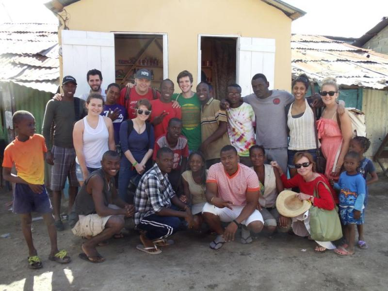 URI students with their Dominican and Hatian hosts at Batey Libertad