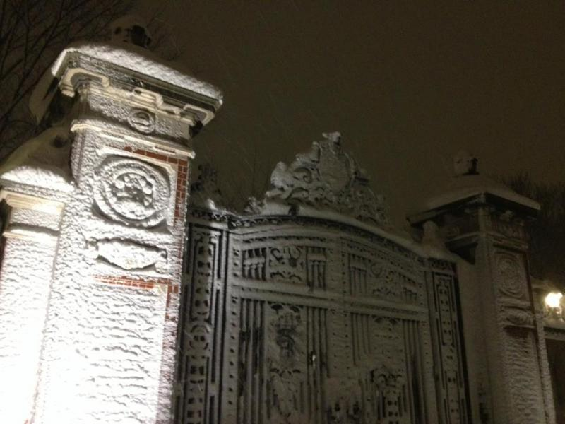 Snow frosted gates at Brown