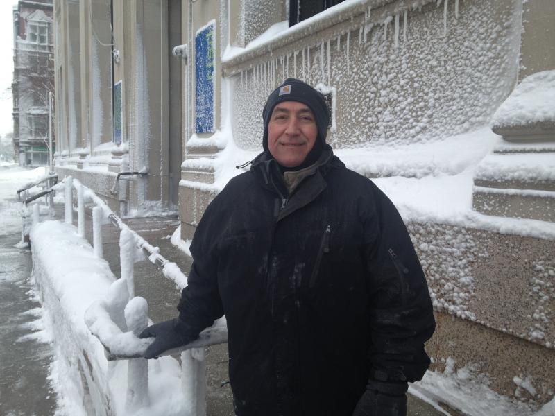 James Barbosa, salting and shoveling at RISD dorm