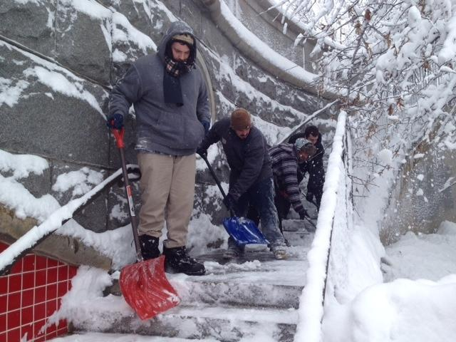 Shoveling the Rhode Island Foundation stairs