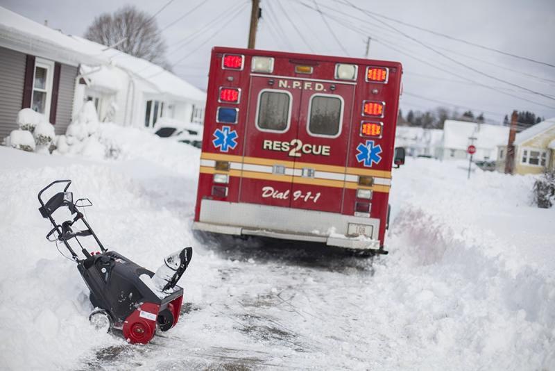 Saturday ambulance snow plow