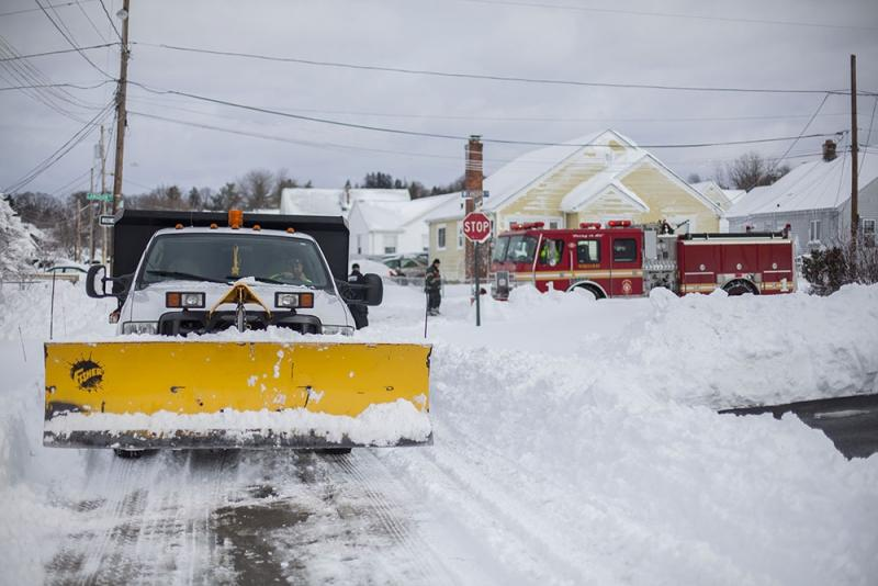 Plowing the streets in N. Providence
