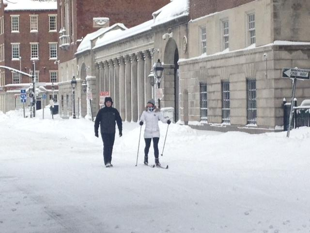 Getting aroudn on skis in downtown Providence