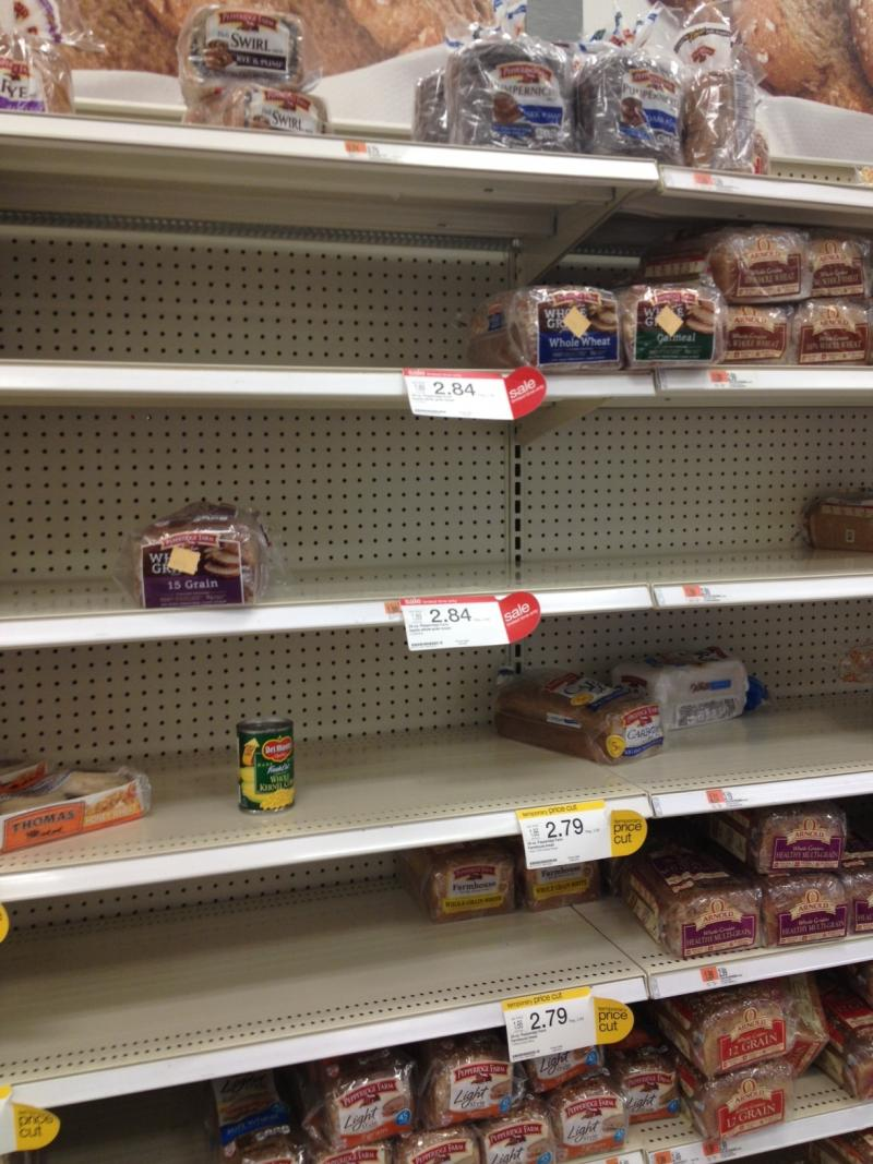 Target in Seekonk, Low on Bread
