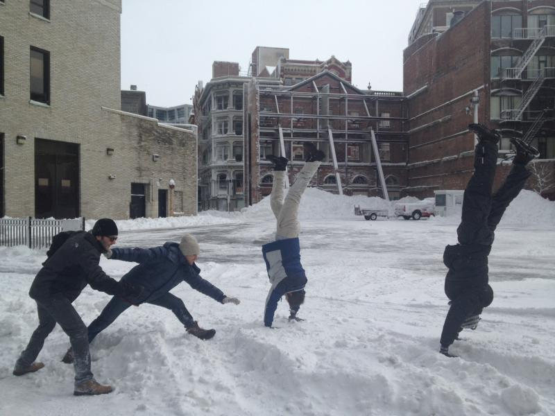 Brown MFA students play in downtown snow Saturday
