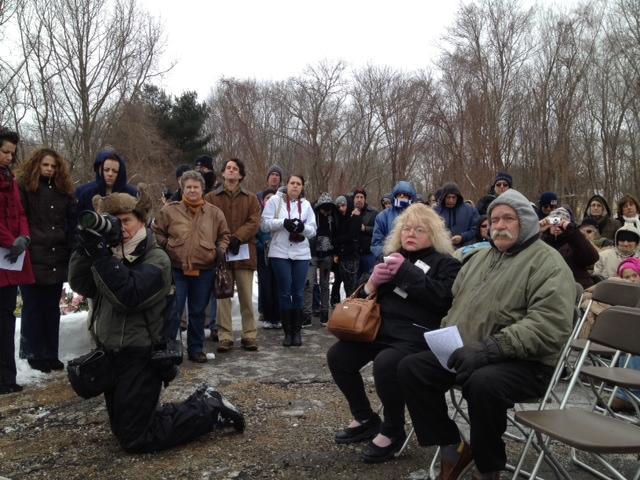 Mourners at memorial site