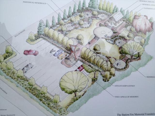 Sketch of proposed Station Nightclub fire memorial park
