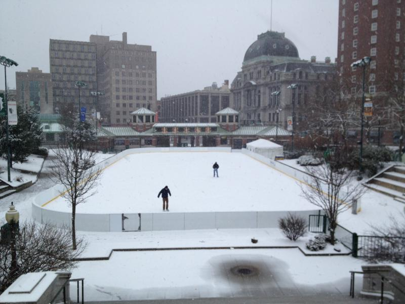 Lone skaters downtown Providence