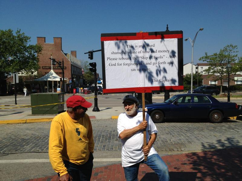 "Protester Michael Yazel (a.k.a. ""Captain Yazu"") at the park's dedication"