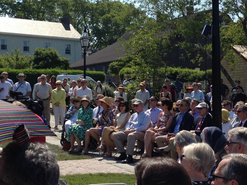 A crowd gathered for the dedication of Queen Anne Square
