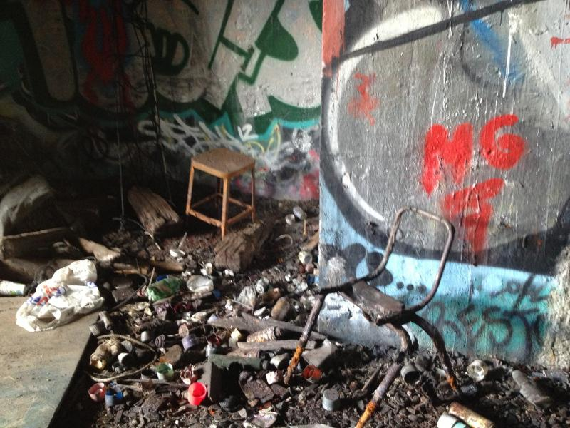 Piles of debris at the entrance near 101 N. Main Street