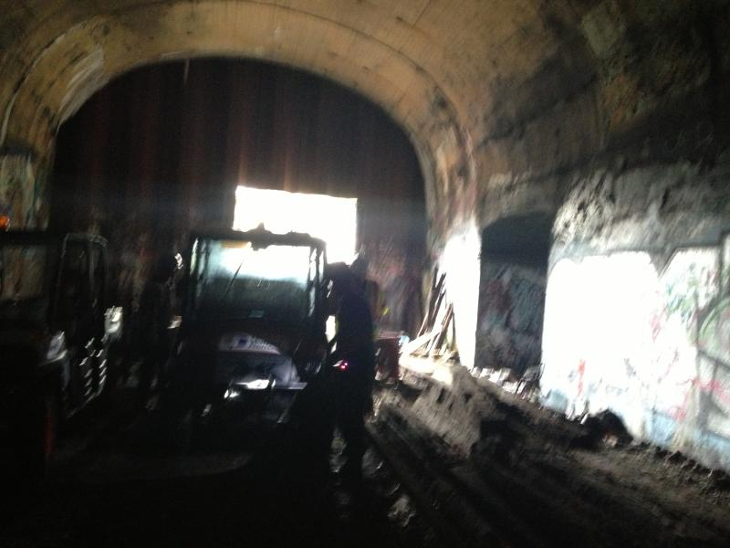 Inspection crews inside the old tunnel