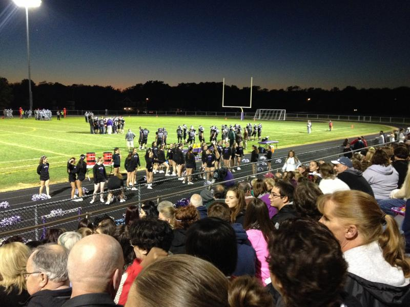 Field and fans at a Mt. Hope High School football game.