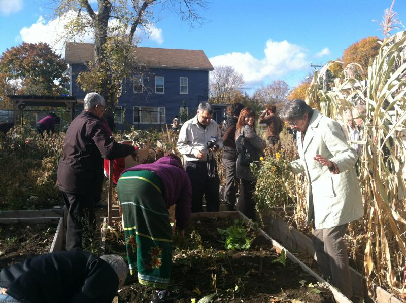 Community members prepare the garden for winter.