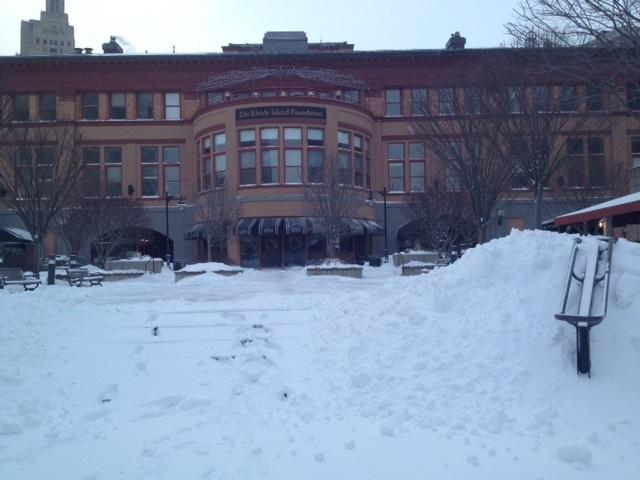 Snow piles up outside the Capitol Grille in downtown Providence.
