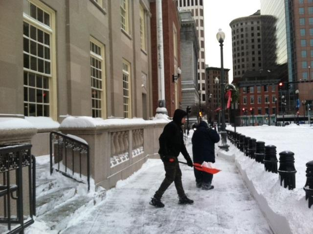 Digging out in front of the federal courthouse