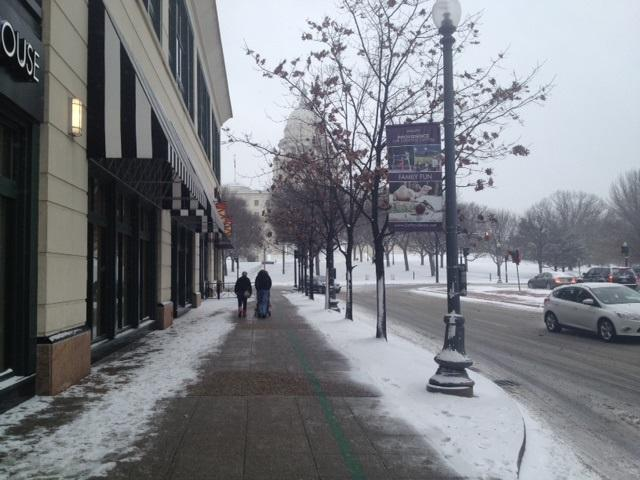 Streets were nearly empty around Providence Place Mall Thursday afternoon as residents prepared for the storm.