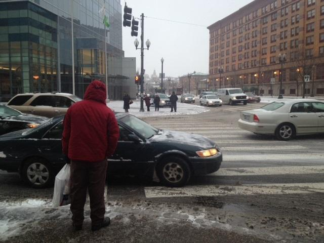 Thursday afternoon commute outside Providence Place Mall on Memorial Blvd.