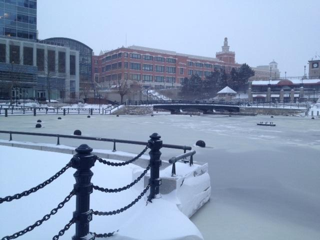 Snow and ice at the basin in Waterplace Park