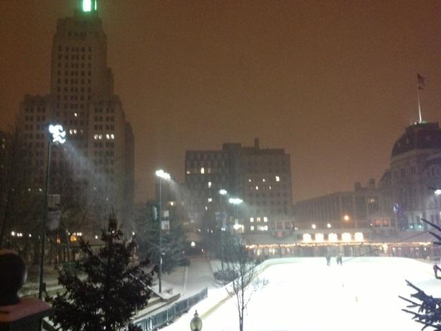 A few brave souls take to the ice rink in downtown Providence Thursday night.