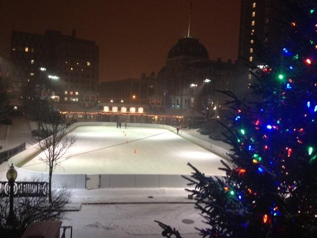 A couple of skaters take to the ice Thursday night in downtown Providence