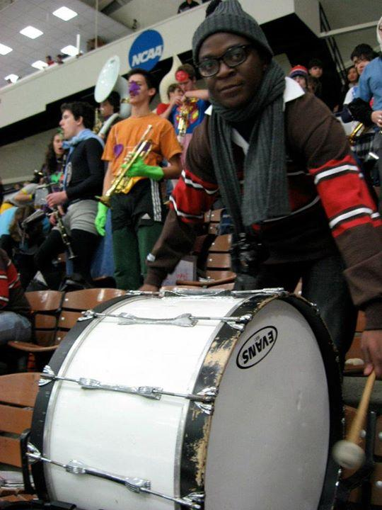 Chiemeka Onwuanaegbule plays bass drum with the Brown Band