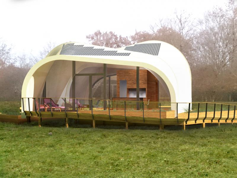 Students from RISD, Brown, and the University of Applied Sciences Erfurt in Germany are building a solar house using existing materials in new ways to create a soft enclosure. This is a rendering of the solar house.