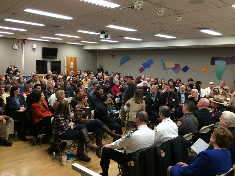 The audience at a packed community forum on overdose, at The Miriam Hospital in Providence, RI in Feb. 2014.