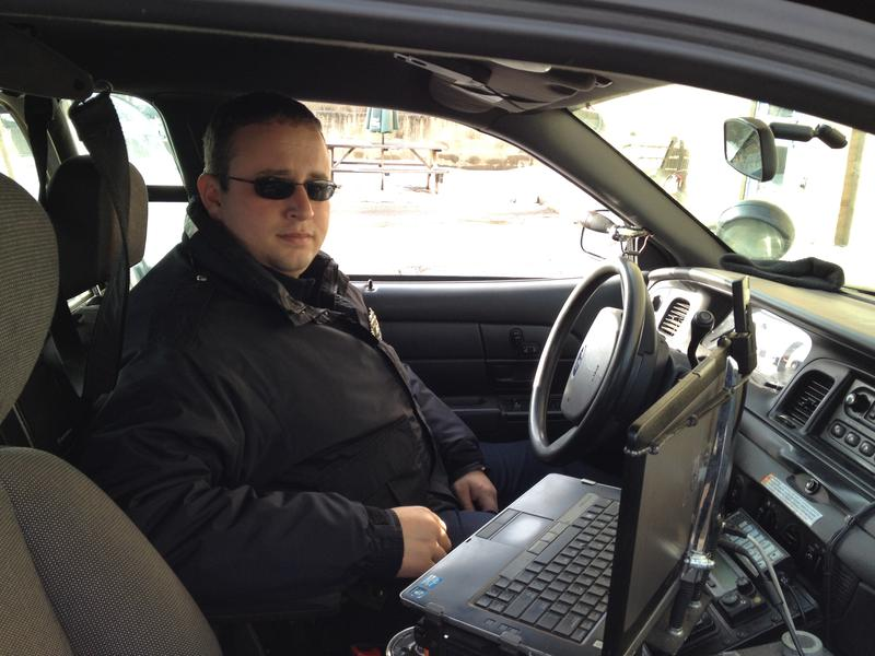 Quincy, MA police officer Ryan Donnelly in his cruiser