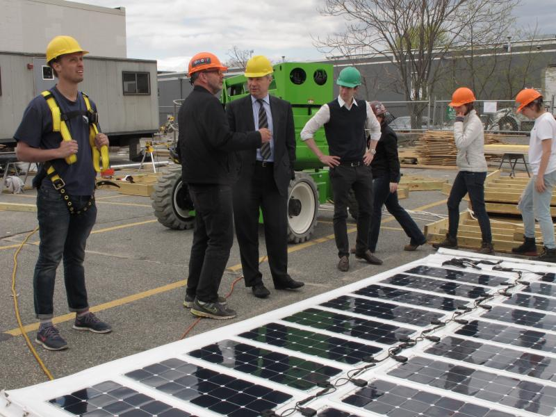 Sen. Sheldon Whitehouse toured the solar-powered house designed and built by a team of Brown and RISD students competing in a solar decathlon this summer in France.