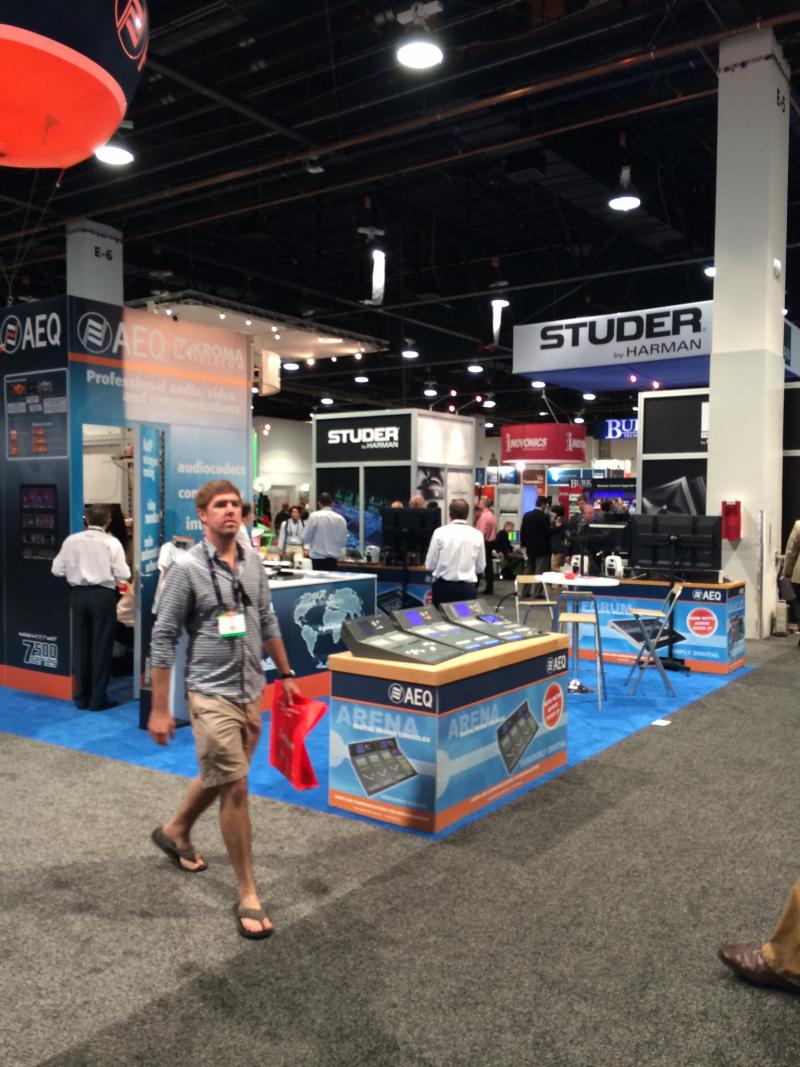The AEQ and Studer booths on the show floor.