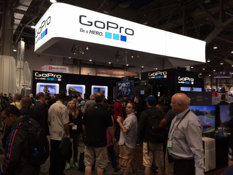 The GoPro booth was insanely popular thanks to their little HD cameras.