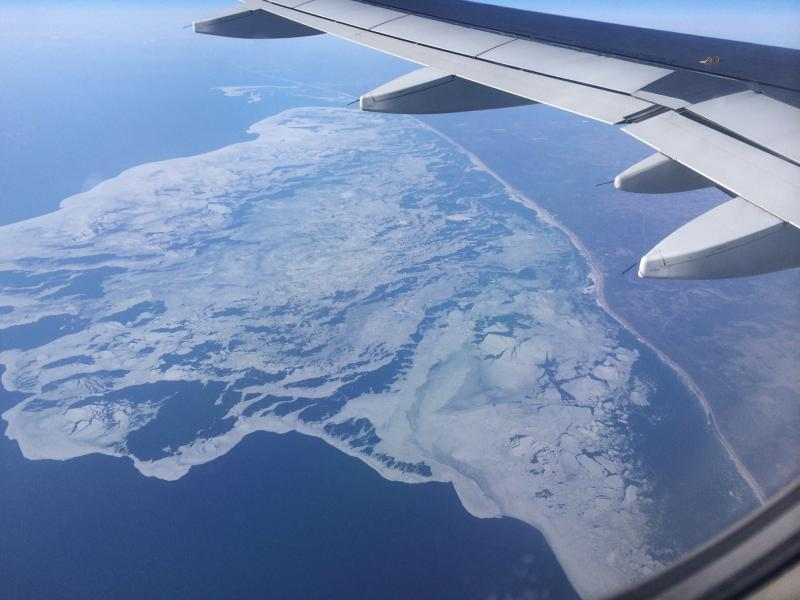 The flight home on Apr.8th.  Eastern shore of Lake Michigan still had a lot of ice!