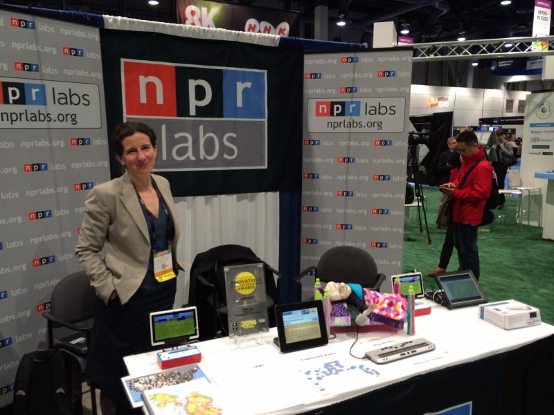 The NPR Labs booth in the North Hall, with Alice Goldfarb.