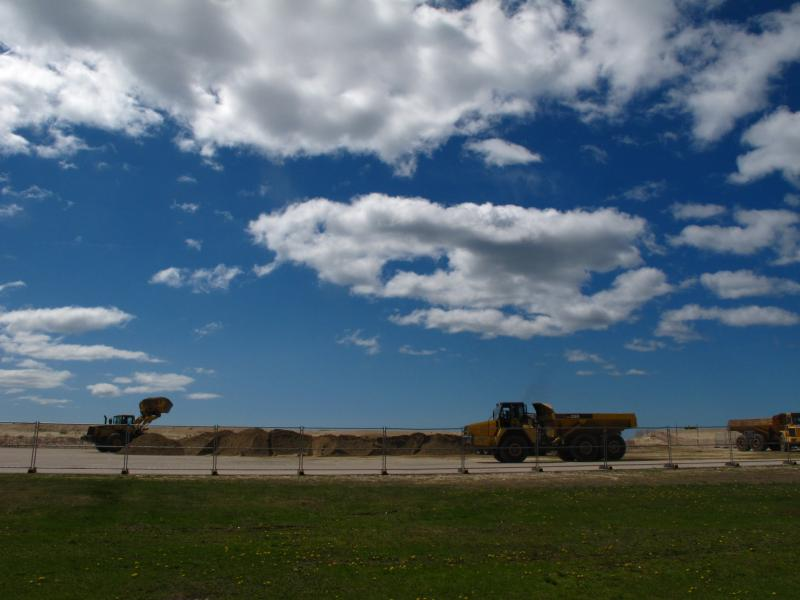 The U.S. Army Corps of Engineers trucked in 90,000 cubic yards of upland sand sources, a relative small amount compared to future needs, to restore the beach from Superstorm Sandy damages.