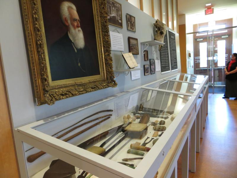 This display case holds virtually all that's left of the original Jenks Museum