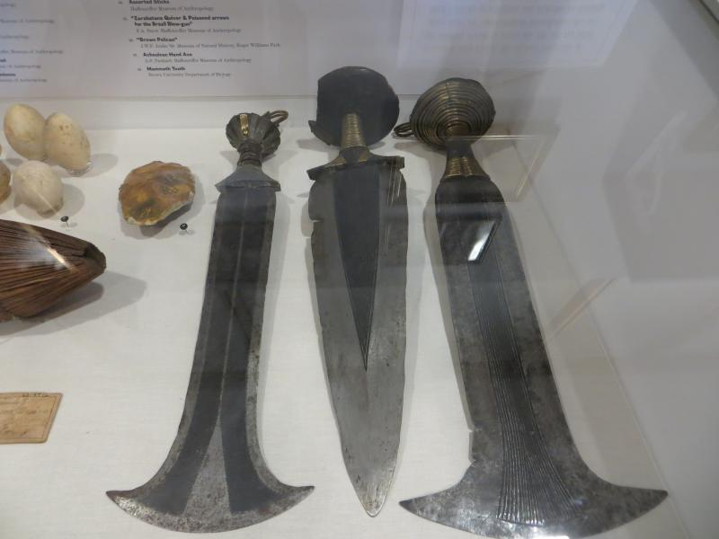 African 'executioner's knives, allegedly first displayed with flecks of blood still visible, though that may have been an embellishment.