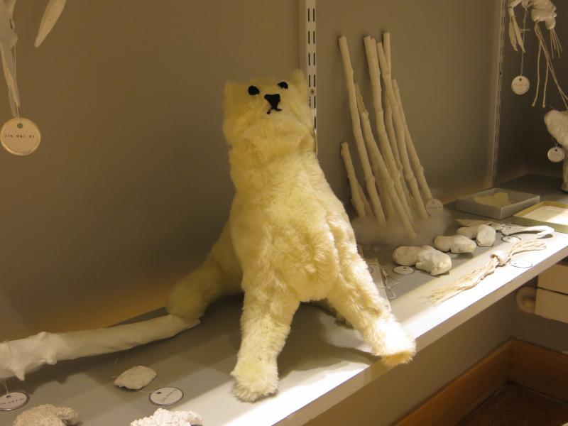 One artist's version of a taxidermy pomeranian that was actually housed in the original museum.