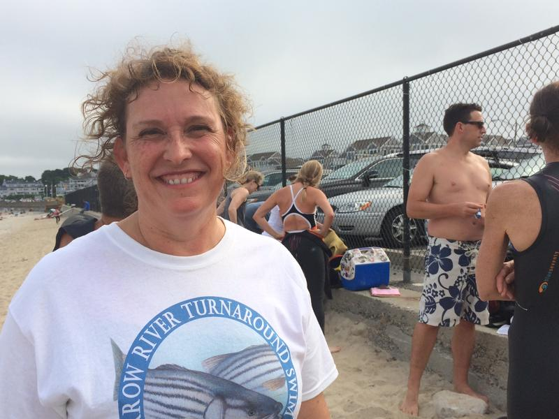 Open water swimmer Susan Hannel loves the group that gathers week nights at Narragansett Town Beach.