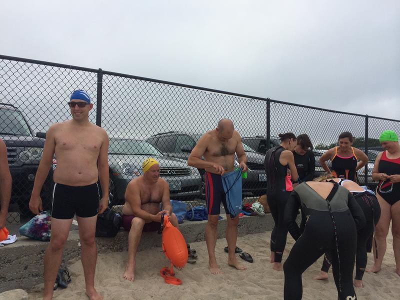 Dozens of swimmers gather a couple of nights a week during the summer at Narragansett Town Beach.