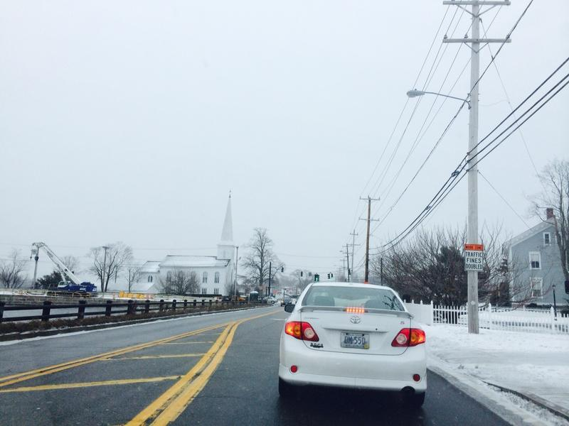 The roads mostly clear Monday afternoon in Barrington.