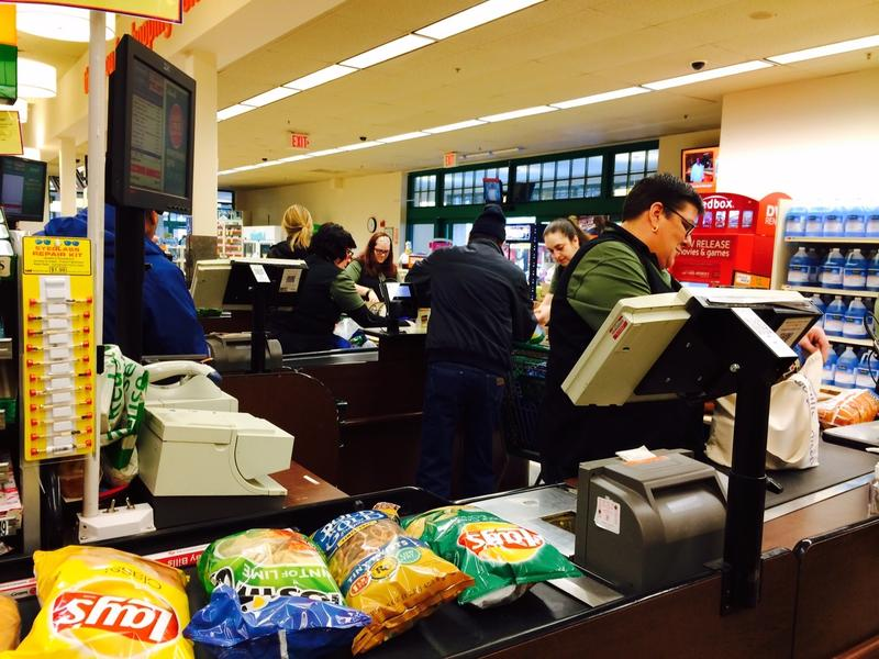 Clerk says Shaw's in Barrington was busier Sunday than Monday ahead of the blizzard.